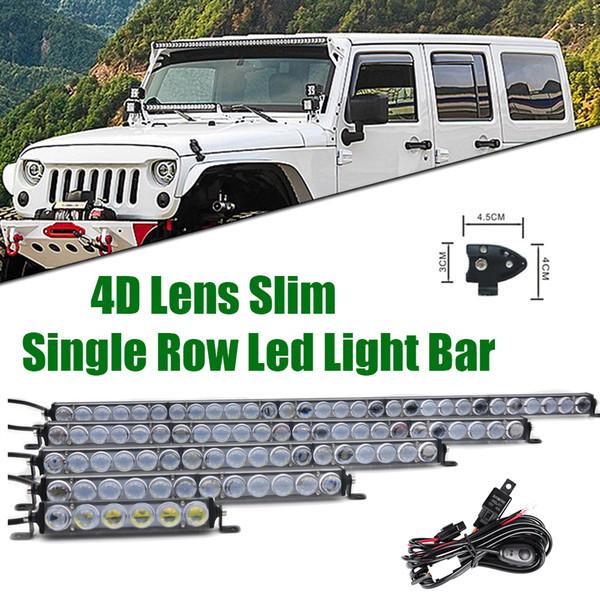 7 13 20 25 32 38 45 50inch 4D Lens Slim LED Work Light Bar singola riga 60W 90W 120W 150W 180W 210W 240W per SUV 4X4 ATV Off Road