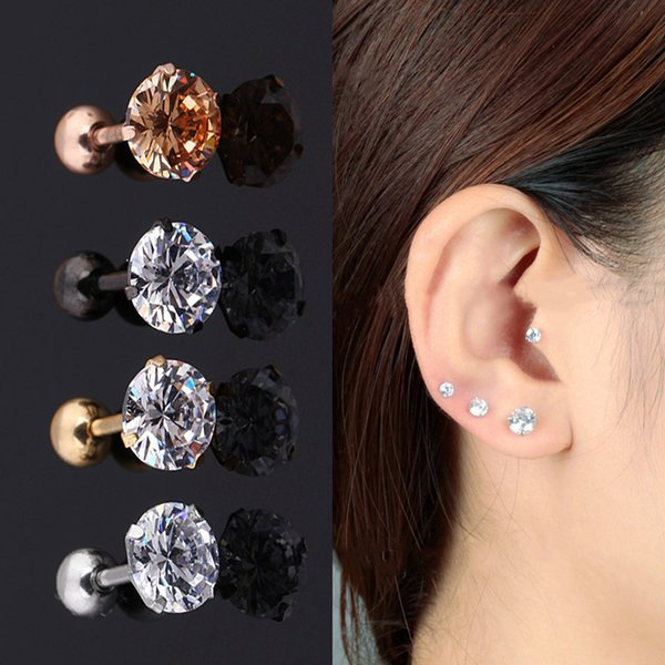 10 stücke titanium zirkon ohrringe diamant ohrstecker frauen mode knochen ohrstecker set 3mm, 4mm, 5mm, 6mm, l-685