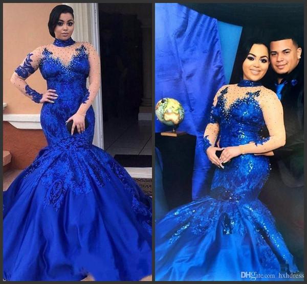 Arabia Saudita Royal Blue Vestidos de baile Cuello alto Malla desnuda Mangas largas Apliques de encaje Vestidos de noche Tallas grandes Satén Sirena Ropa formal AW317