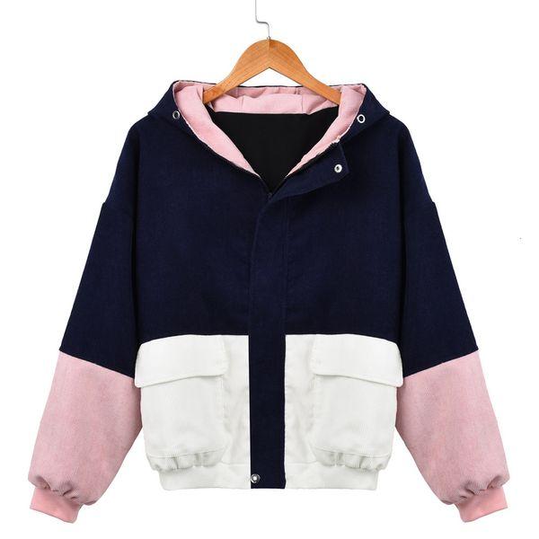 Outerwear & Coats Women Corduroy Jackets Hooded Patchwork Oversize Zipper Jacket Plus Size Windbreaker Coats Autumn JacketsMX190930