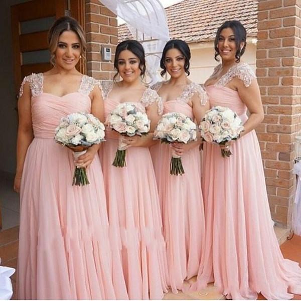 Barato Tallas grandes Blush Pink A Line Vestidos de dama de honor País Gasa Encaje Apliques Longitud del piso moldeado Vestidos de fiesta de novia de dama de honor
