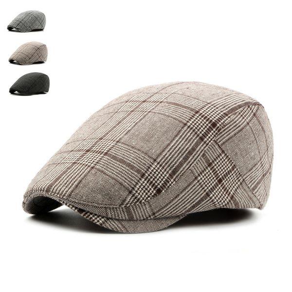 Fashion British Style Summer Sun Hats for Men Women High Quality Casual Cotton Women Beret Caps Adjustable Plaid Flat Cap