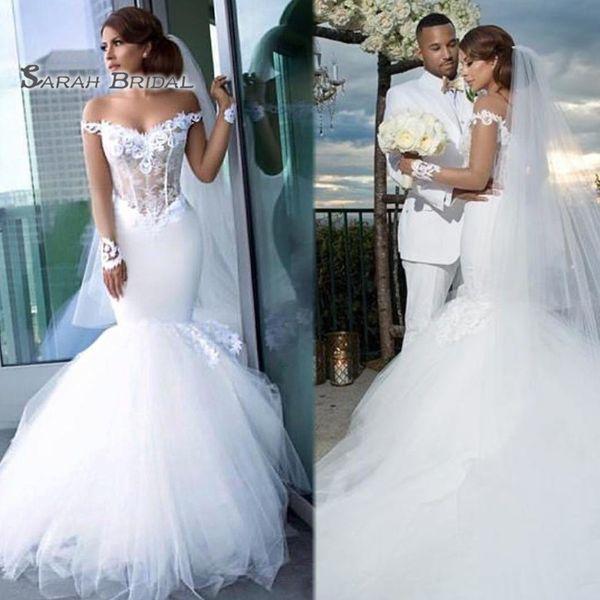 2020 White Sexy Beach Mermaid Wedding Dresses Off Shoulder Sleeveless Appliques Sheer Bodice Bridal Gowns Plus Size robes de mariée