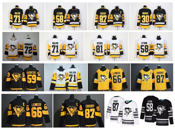 2019 Stadium Série Pittsburgh Penguins Jersey 87 Sidney Crosby 71 Evgeni Malkin Phil Kessel Kris Letang Lemieux Matt Murray Guentzel Hóquei