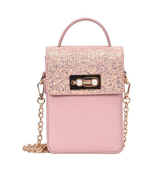 Woman bags 2019 new sweet design pink white black sequined pearls decoration mini clutches messenger chain bags B052