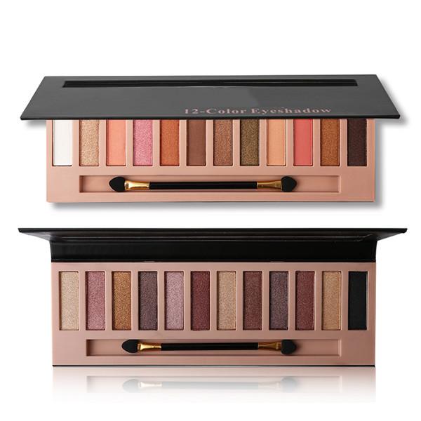 12 Colors Shimmer or Matte Eyeshadow Palette  Kit Waterproof Long Lasting Eye Shadow  Nude Eyes Cosmetics with Brush