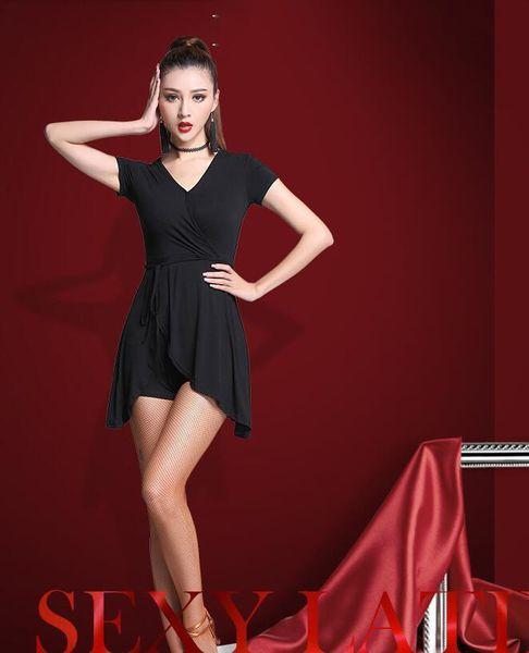 One Piece Women Latin Dance Dress Pop Style Dance Costume Adult Modal Practice Performance Skirt Short Sleeve 2XL Fashion