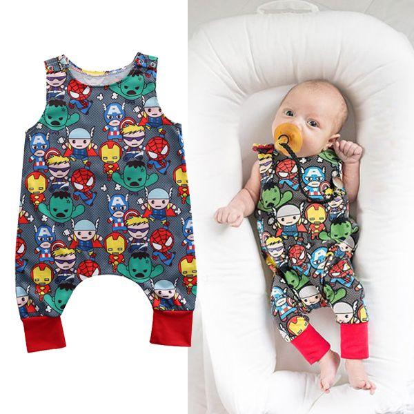 Karton Marvel Superhero Gruppe Sommer Neugeborenen Baby Boy Strampler Held Long Jumpsuit Muster Kinder Kleidung von Jungen
