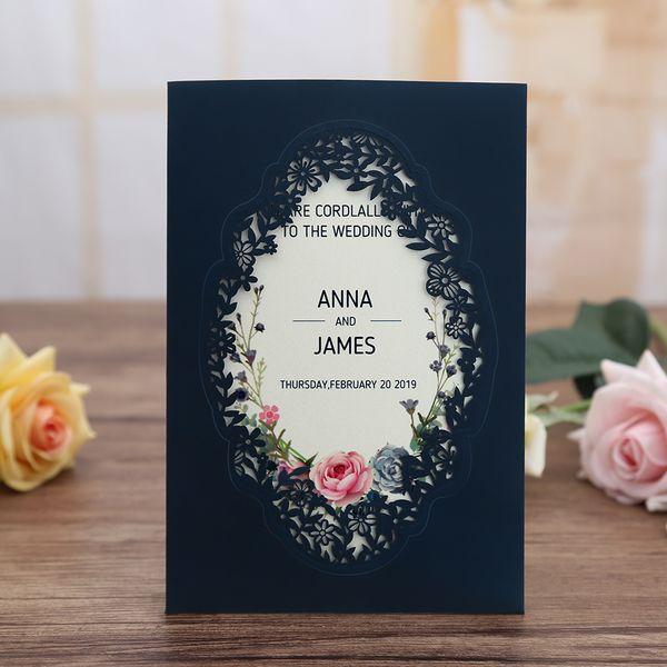 Invitación de boda de fiesta de aniversario de Quinceamera de corte de láser vertical de oro rosa azul marino de 100 piezas