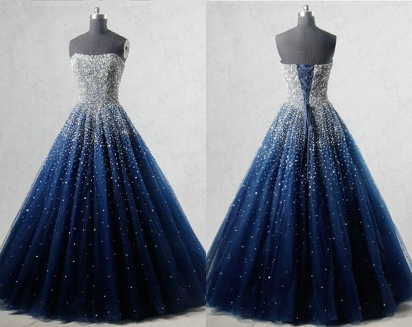 Charming Navy Blue Bling Beads Quinceanera Prom Dresses 2019 Ball Gown Tulle Crystals Strapless Corset Cheap Sweet 16 Dress Vestidos 15 Anos 2015