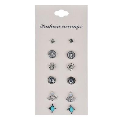 Cute Earring Sets Super Value 6 Pairs Set Round Square Ball Alloy Crystal Stud Earrings For Women Best Friend Gifts E956