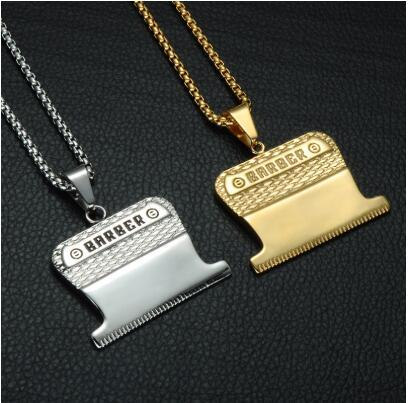 HIP Gold Color Titanium Stainless Steel Haircut Pendant Necklace Mini Hair Styling Device Barber Necklace for Men Jewelry