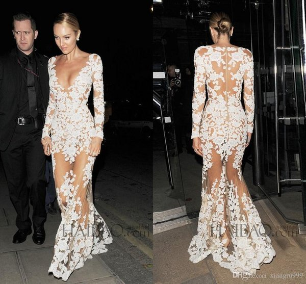 Sexy Michael Costello Evening Dresses Deep V Neck Long Sleeves Appliques See Through Illusion Nude Evening Gowns Custom Made Prom Dress