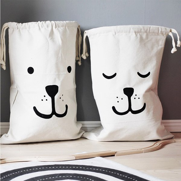 Extra Large Drawstring Storage Bag Cotton Canvas Kid Toy Organizer Dog Print Clothes Pouch Laundry Basket Sundries Storage Box DBC VT1662