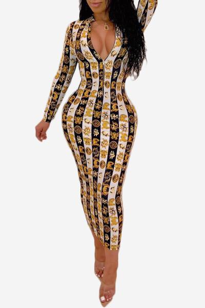 19SS Nouveau Arrivée Femmes Robe Designer pour l'été de luxe à manches longues Imprimer SNAKESKIN Robes col en V Robe moulante sexy style club Vente Hot