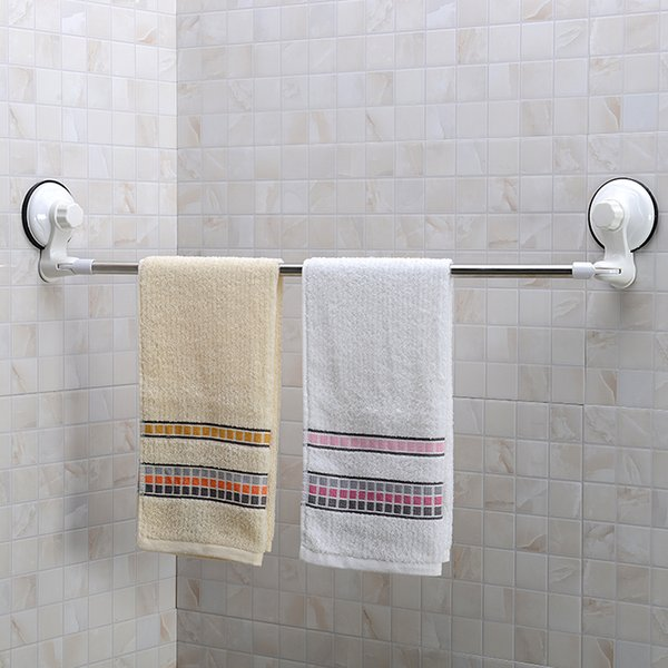 71CM Stainless Steel Corner Towel Bar With Suction Cup Wall Mount Towel Rack For Bathroom Accessories Removable Home