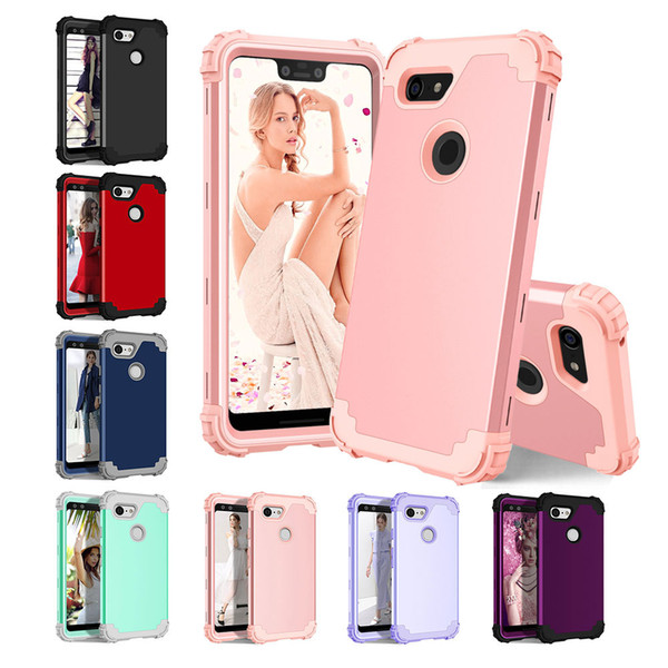 For Google Pixel 3/3 XL Case 3 in 1 Heavy Duty Hard Plastic+Soft Silicone Rubber Hybrid Sturdy Armor Shockproof Bumper Protective Case Cover