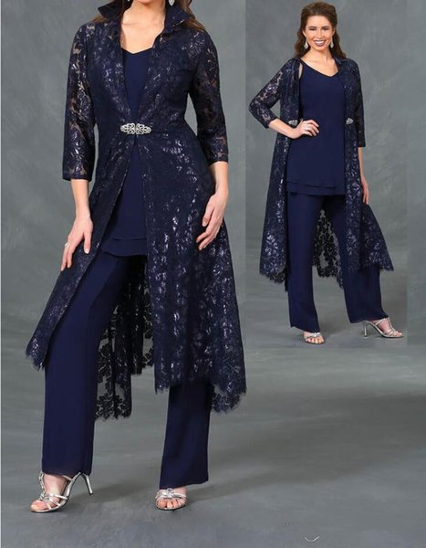 Navy mother of the bride pant suits with 3/4 lace sleeves jacket ankle length formal evening gowns plus size wedding guest dresses
