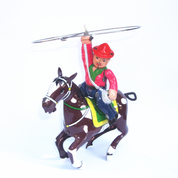 [TOP] Adult Collection Retro Wind up toy Metal Tin knight on horse cowboy with whip Mechanical Clockwork toy figure kids gift