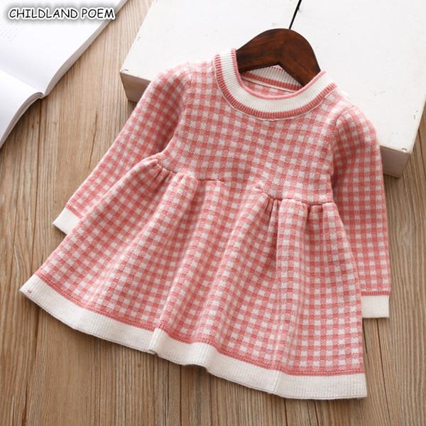 c32cba6bcbae Baby Girl Dress Autumn Winter Knitted Baby Dress Plaid Long Sleeve  Christmas Birthday Toddler Girls Dress