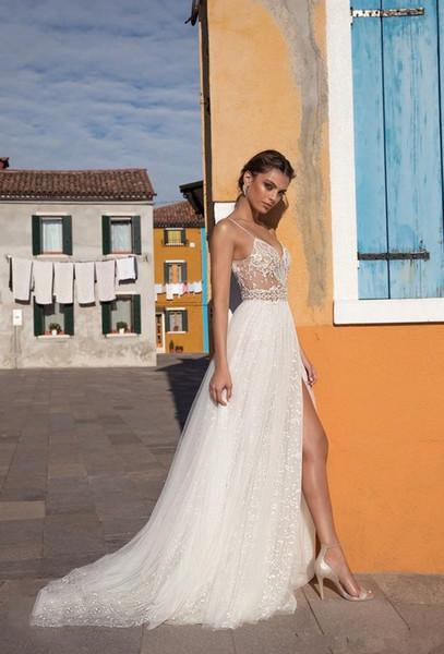 2019 new temperament long section heavy handwork evening dress Deep V-neck evening dress slim simple lace elegant sexy dress