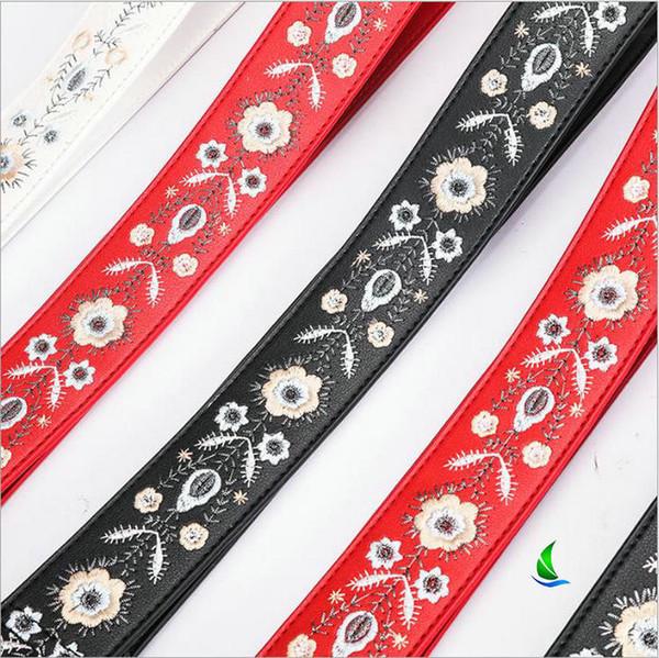 2019 heißer Verkauf 120cm langes Leder gestickter breiter Schultergurt Schultergurt der Frauen Kontrastfarbe-Stickerei-Gurtbügel