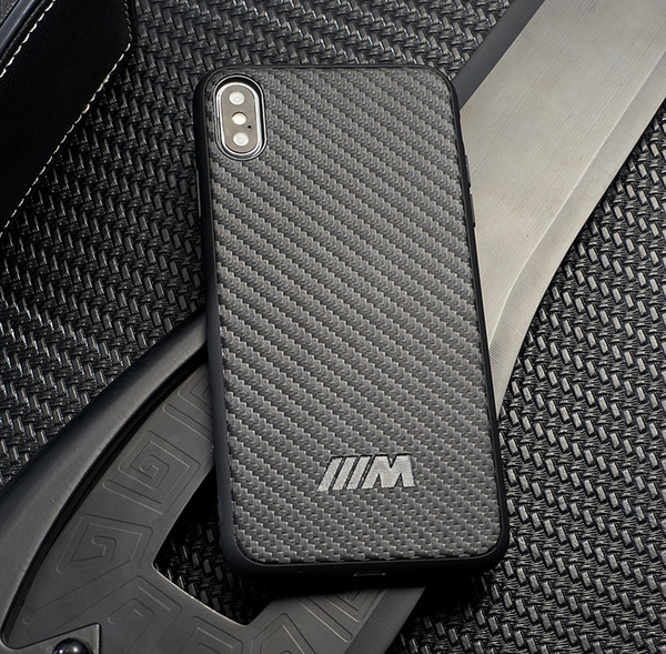 Carbon Fiber BMW AMG Motorsport Case For iPhone XS Max XR XS X 8 Plus 7 6S 6 Plus Samsung S10 Plus Huawei