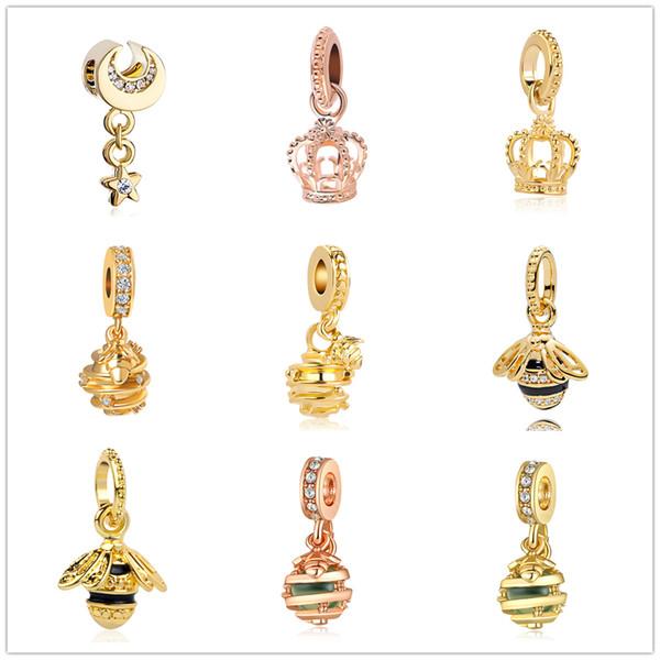 New encantos moda estilo abelha coroa estrela pingente criativo pendurado pingentes pulseira caber homens encantos de Pandora mulheres pulseira DIY jóias ZY138