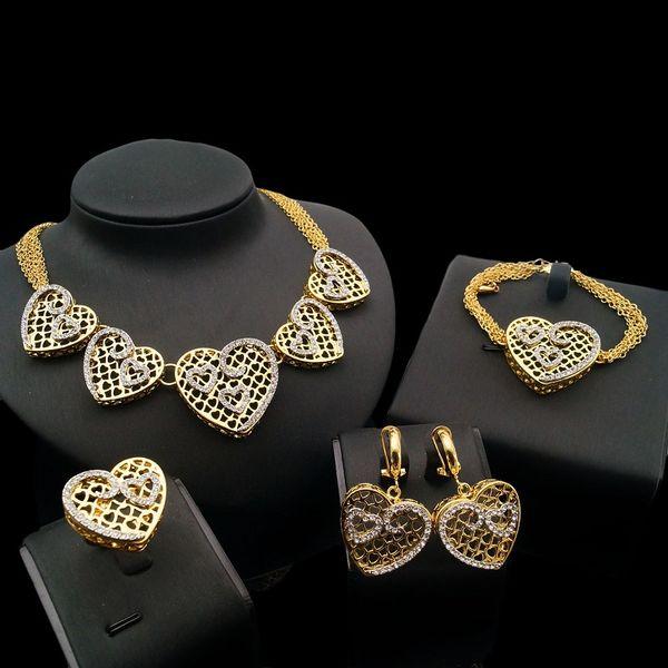 Yulaili Trendy Austria Crystal Dubai Gold Big Heart Necklace Dangle Earrings Bracelet Ring for Women African Nigeria Wedding Jewelry Sets