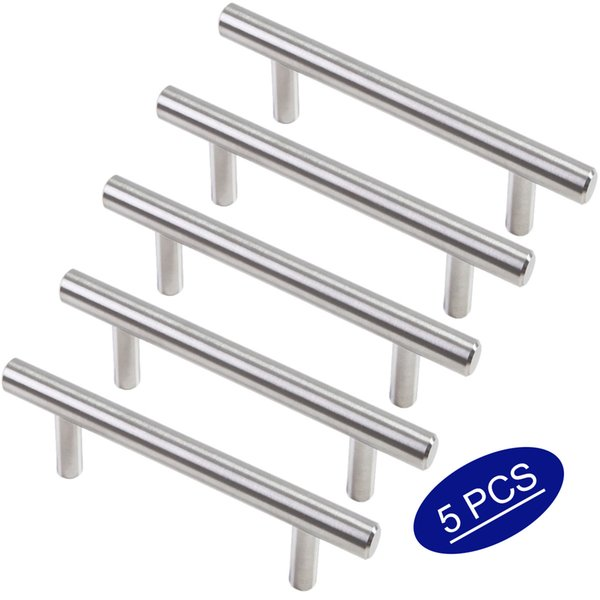 5 Pieces Brushed Stainless Steel Kitchen Hardware Cabinet Pulls 3 Inch Hole  Center, 1/