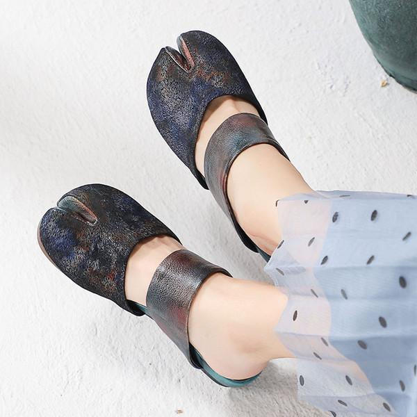 Zapatillas mujer mujer de Mules de planos para cuero Retro Zapatos de Gris primavera tacones 2019 At0wwqpgn