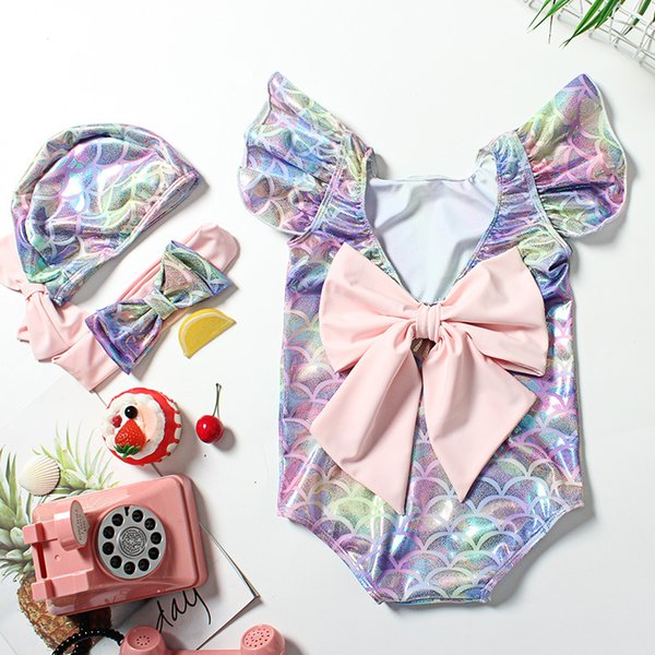 top popular Kids Girl Mermaid Scale Swimwear One-piece Ruffle Sleeve Backless Big Bowknot With Hat Headband Swimsuit Bodysuit 2021