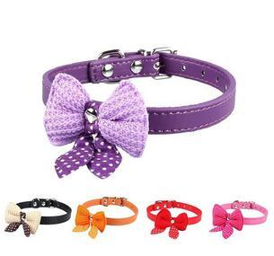 1Pc Wholesale Cute bow tie colours Collar Pet Dog Puppy PU Leather Neck Collar Knitted Bow Bowknot