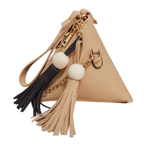 Bolso pequeño de moda con flecos Monedero para mujer Embragues de mujer con tres esquinas Bolsos de hombro de cuero PU casuales Bolso de mano