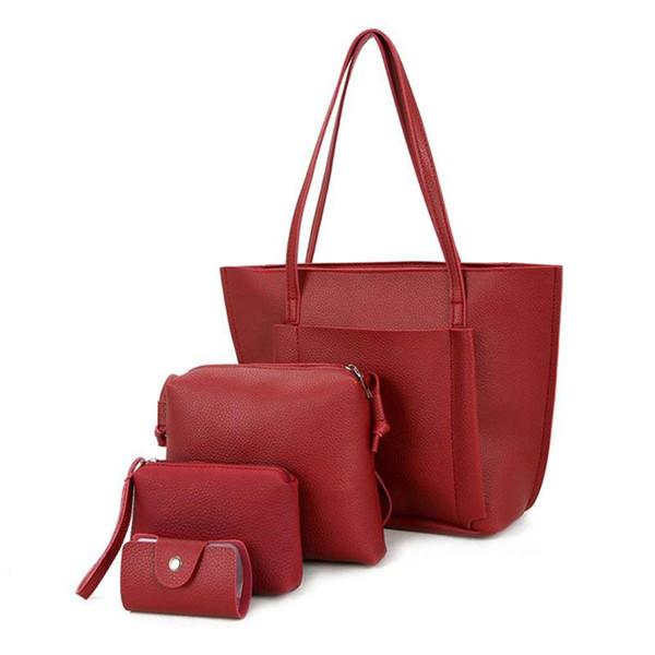 women fashion pu leather handbag shoulder bag purse card holder 4pcs set tote bags (wine red) - from $28.91