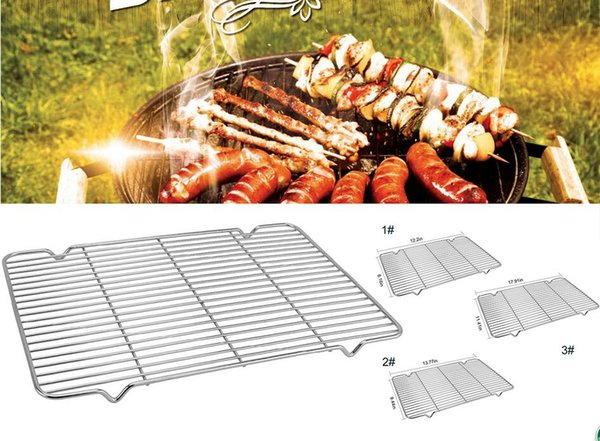 BBQ Grill Meshes Oven Net Stainless Steel Wire Steaming Kebab Barbecue Rack BBQ Kitchen Tools