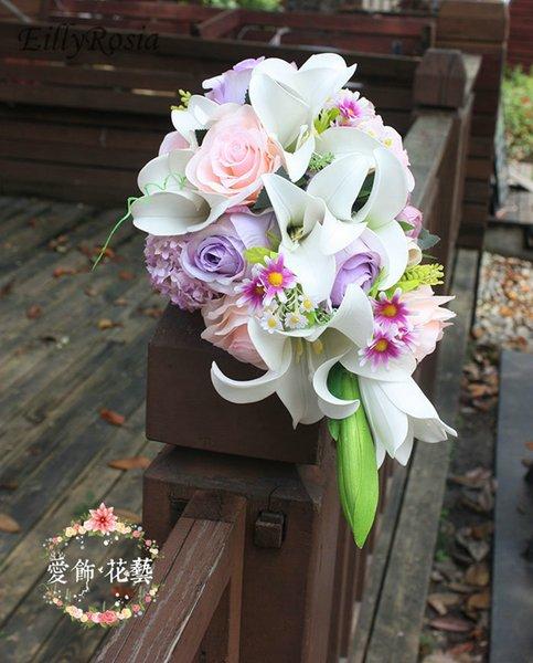 Country White Lily Фиолетовый Свадебные букеты Водопад Искусственное Свадебные цветы Свадебный букет De mariée Blanc Rose Розе невесты Букеты