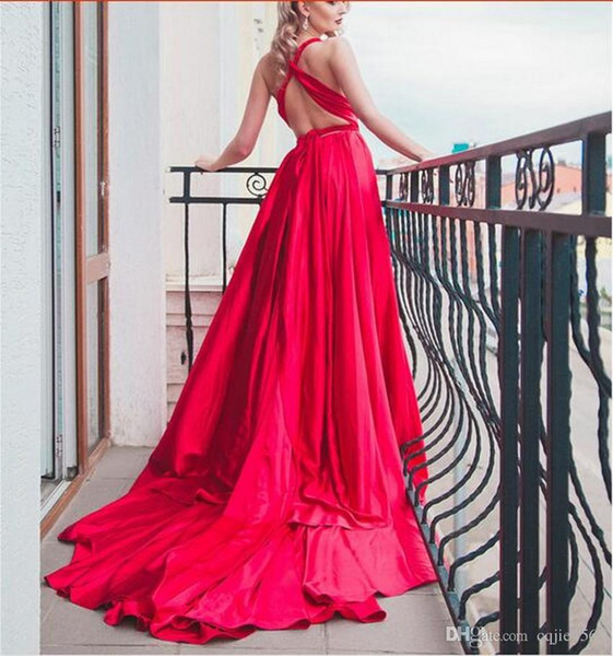 2019 New Elegant Backless Silk Photography Long Train Dress Red Bean Evening Dress 2017 Bridal Gowns 612