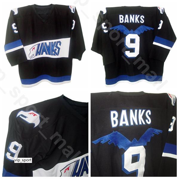 Mighty Ducks Movie 9 Adam Banks Maglie per hockey su ghiaccio Hawks Uomo Saldi Squadra Colore Nero Tutto cucito Alta qualità in vendita