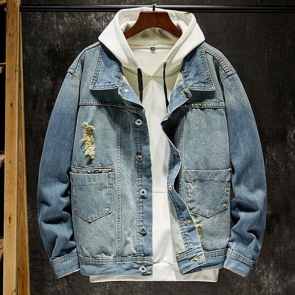 Spring Autumn Men Denim Jacket Casual Bomber Army Retro Jacket Cowboy Outwear