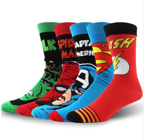 Acheter USA Fashion Cartoon Anime Super Héros Chaussettes Hommes Long Happy Art Fun Fun Chaussettes Crazy Cool Flash Superman Capitaine Avengers
