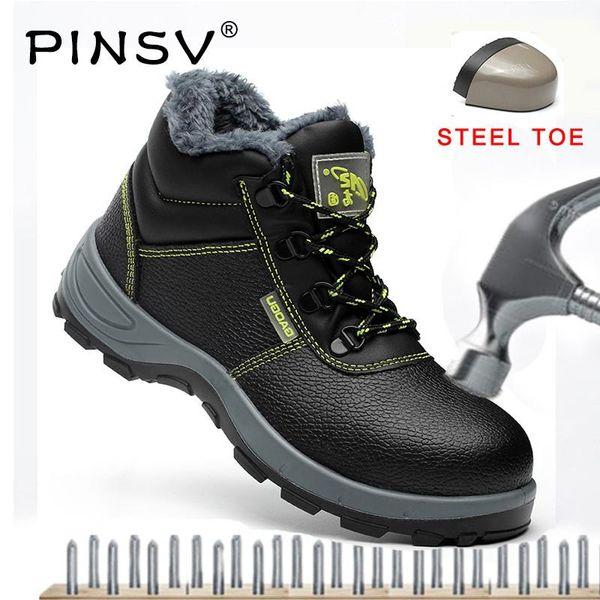 PINSV Aço Dedo Do Pé Unisex Botas de Segurança Homens Sapatos de Segurança Botas de Trabalho de Couro Homens Sapatos Preto tornozelo Trabalho Plus Size 35-47