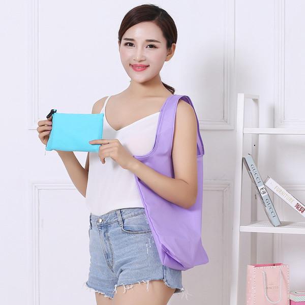 Designer-2017 Nova coréia moda dobrável saco de compras reutilizável saco de armazenamento reutilizável zipper bolsas carteira moeda sacos atacado