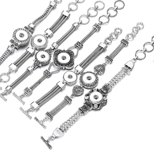 12 Unids Venta Caliente Broche de Joyería de Metal Broche Broche Pulsera Rhinestone Pulsera de Plata Fit 18mm Botón A Presión de Joyería para Mujeres Hombres