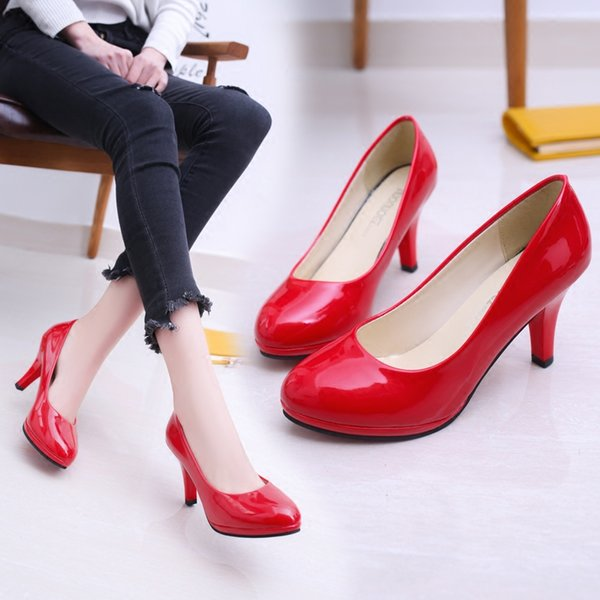 New fashion wild single shoes patent leather shallow mouth sexy stiletto women's shoes trend comfortable high heels