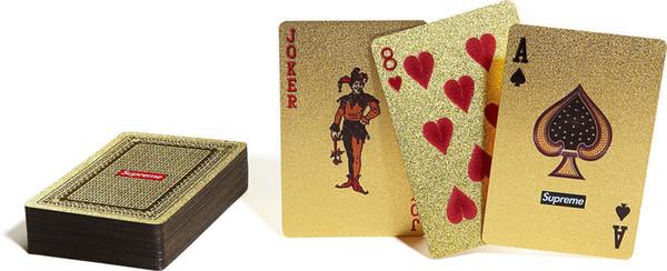 Sup Poker spielen car14FW Wasserdichte Luxus 24 Karat vergoldete Poker Premium Matte Kunststoff Brettspiele