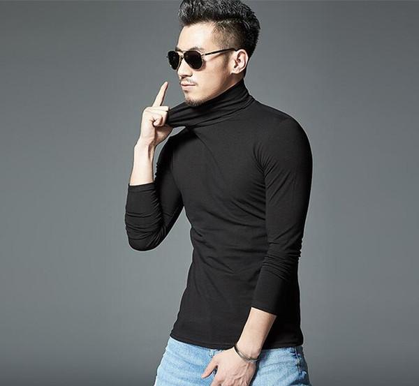 Mens inverno gola alta camiseta de cor sólida assentando camisas básicas de t de manga comprida slim fit todos os tops de correspondência