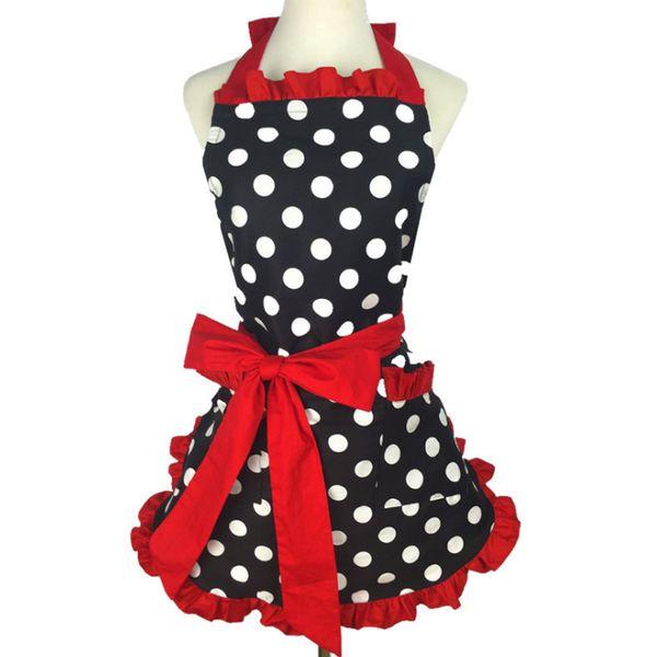 New Bonito Bib 100% Algodão Avental Vestido Flirty Cozinha Vintage Mulheres Pontos Com Rendas Presente de Bolso