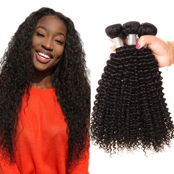 Afro rizado rizado paquetes de cabello humano pelo brasileño que teje rizado rizado 4 piezas rizado rizado paquetes rizos virginal del pelo humano envío gratis