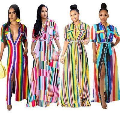 2019 Mode Plus La Taille Rayé Lâche Chemise Dress Femmes Vêtements D'été Automne Bouton Up Élégant Robes De Soirée Casual Long Maxi Robe